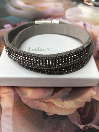 Gorgeous sparkle wrap bracelet - grey & silver